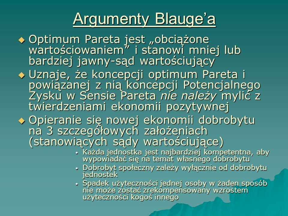 Argumenty Blaugea Optimum Pareta jest obciążone wartościowaniem i stanowi mniej lub bardziej jawny-sąd wartościujący Optimum Pareta jest obciążone war