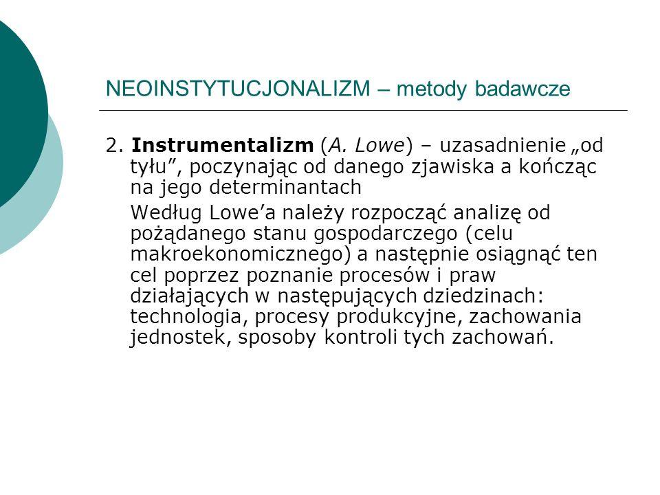 NEOINSTYTUCJONALIZM – metody badawcze 2. Instrumentalizm (A. Lowe) – uzasadnienie od tyłu, poczynając od danego zjawiska a kończąc na jego determinant