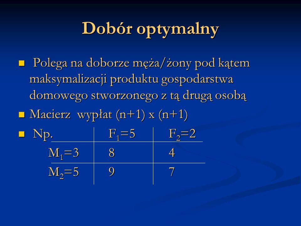 Dobór optymalny Polega na doborze męża/żony pod kątem maksymalizacji produktu gospodarstwa domowego stworzonego z tą drugą osobą Polega na doborze męża/żony pod kątem maksymalizacji produktu gospodarstwa domowego stworzonego z tą drugą osobą Macierz wypłat (n+1) x (n+1) Macierz wypłat (n+1) x (n+1) Np.F 1 =5F 2 =2 Np.F 1 =5F 2 =2 M 1 =384 M 2 =597
