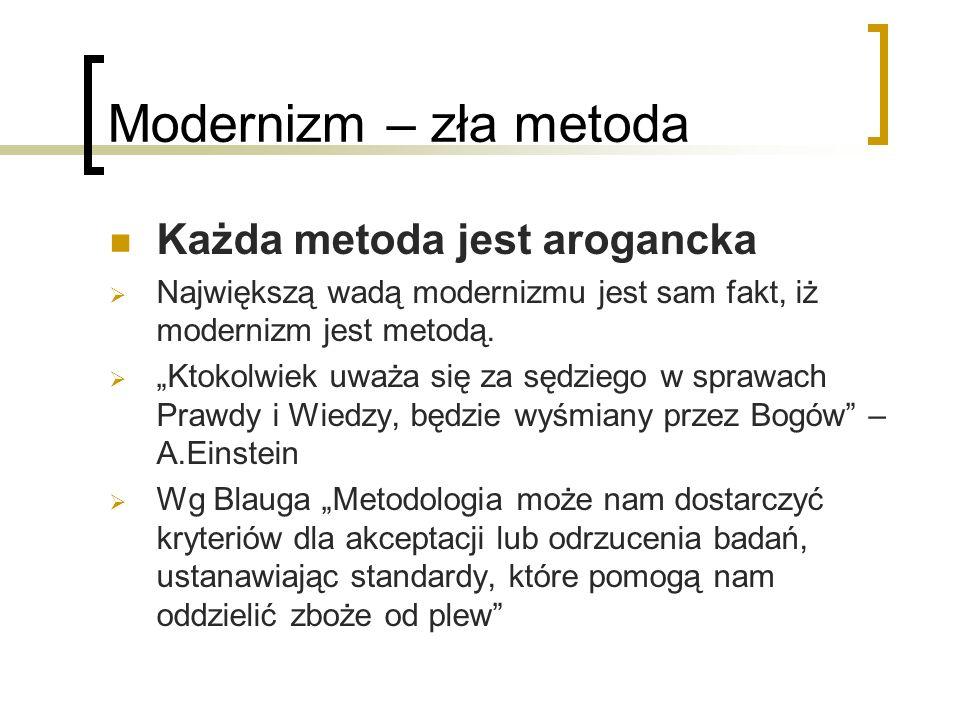 Modernizm – zła metoda Każda metoda jest arogancka Największą wadą modernizmu jest sam fakt, iż modernizm jest metodą.