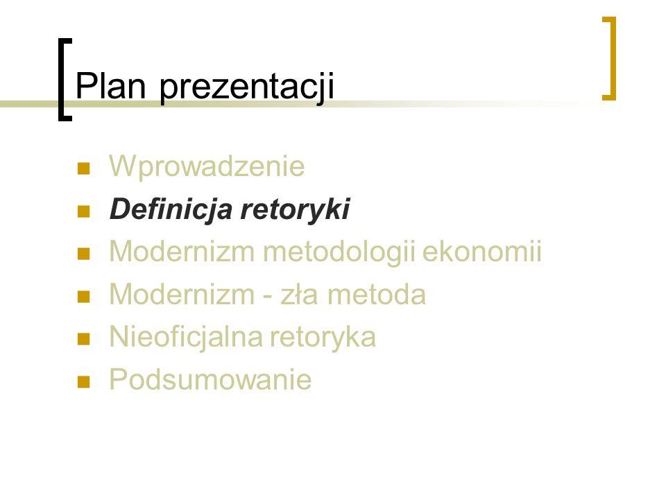 Plan prezentacji Wprowadzenie Definicja retoryki Modernizm metodologii ekonomii Modernizm - zła metoda Nieoficjalna retoryka Podsumowanie