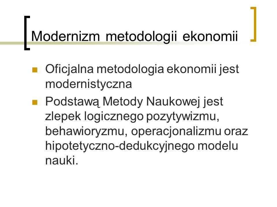 Modernizm metodologii ekonomii Oficjalna metodologia ekonomii jest modernistyczna Podstawą Metody Naukowej jest zlepek logicznego pozytywizmu, behawioryzmu, operacjonalizmu oraz hipotetyczno-dedukcyjnego modelu nauki.