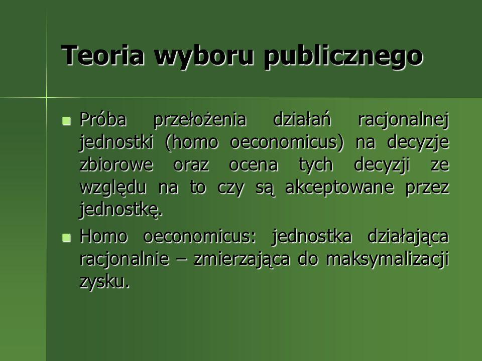 Teoria wyboru publicznego Próba przełożenia działań racjonalnej jednostki (homo oeconomicus) na decyzje zbiorowe oraz ocena tych decyzji ze względu na