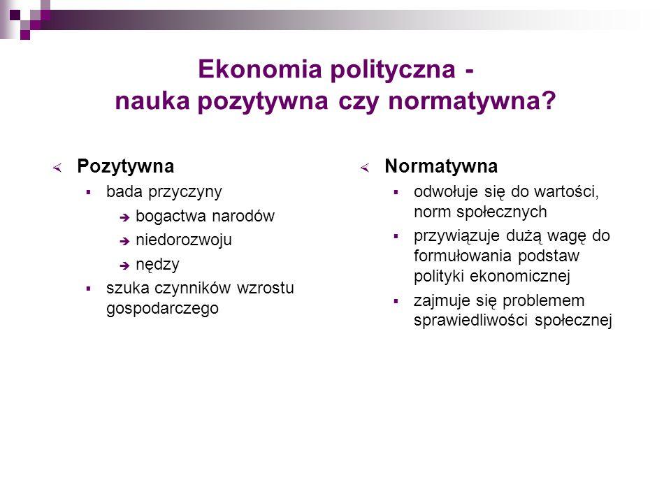 Ekonomia polityczna - nauka pozytywna czy normatywna? Pozytywna bada przyczyny bogactwa narodów niedorozwoju nędzy szuka czynników wzrostu gospodarcze