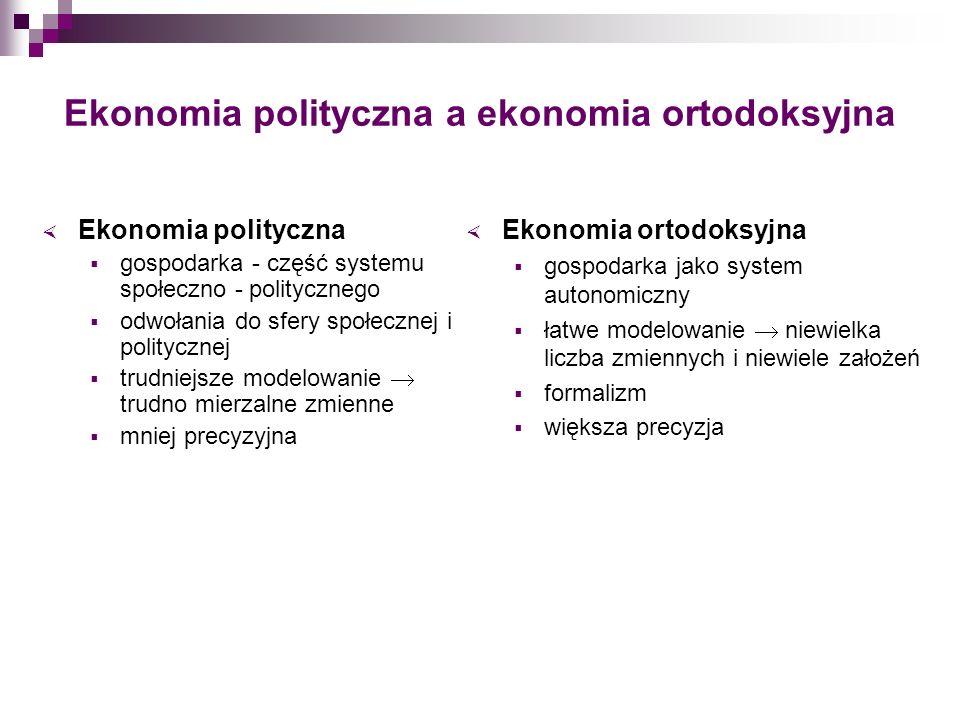 Ekonomia polityczna a ekonomia ortodoksyjna Ekonomia polityczna gospodarka - część systemu społeczno - politycznego odwołania do sfery społecznej i po