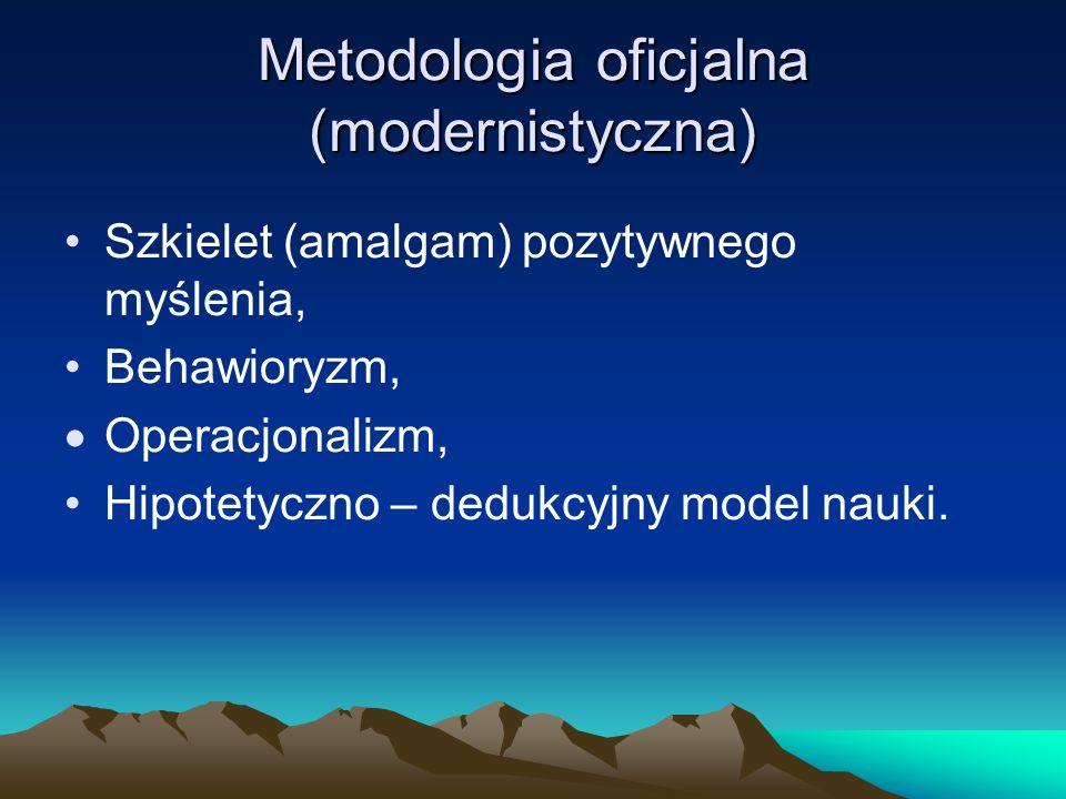 Metodologia oficjalna (modernistyczna) Szkielet (amalgam) pozytywnego myślenia, Behawioryzm, Operacjonalizm, Hipotetyczno – dedukcyjny model nauki.