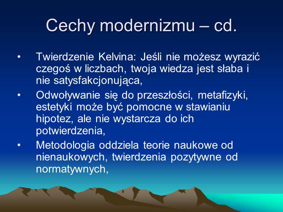 Cechy modernizmu – cd.