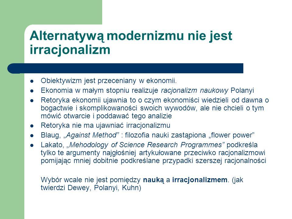 Alternatywą modernizmu nie jest irracjonalizm Obiektywizm jest przeceniany w ekonomii. Ekonomia w małym stopniu realizuje racjonalizm naukowy Polanyi