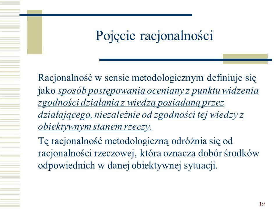 19 Pojęcie racjonalności Racjonalność w sensie metodologicznym definiuje się jako sposób postępowania oceniany z punktu widzenia zgodności działania z