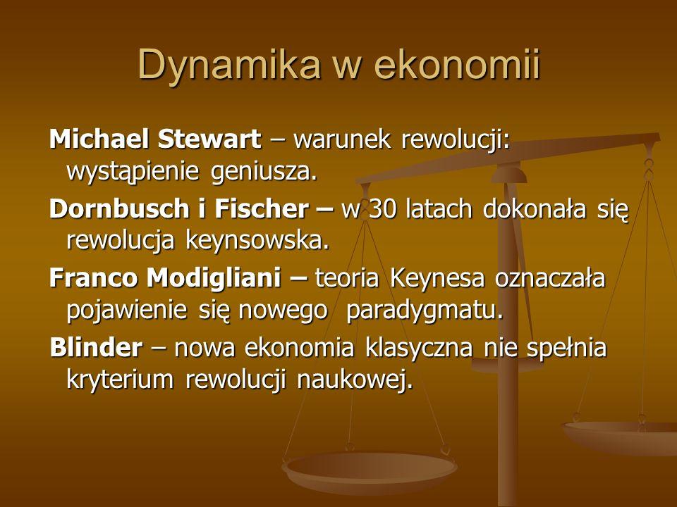Dynamika w ekonomii Michael Stewart – warunek rewolucji: wystąpienie geniusza. Michael Stewart – warunek rewolucji: wystąpienie geniusza. Dornbusch i