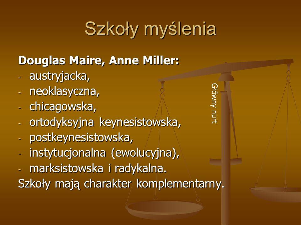 Szkoły myślenia Douglas Maire, Anne Miller: - austryjacka, - neoklasyczna, - chicagowska, - ortodyksyjna keynesistowska, - postkeynesistowska, - insty