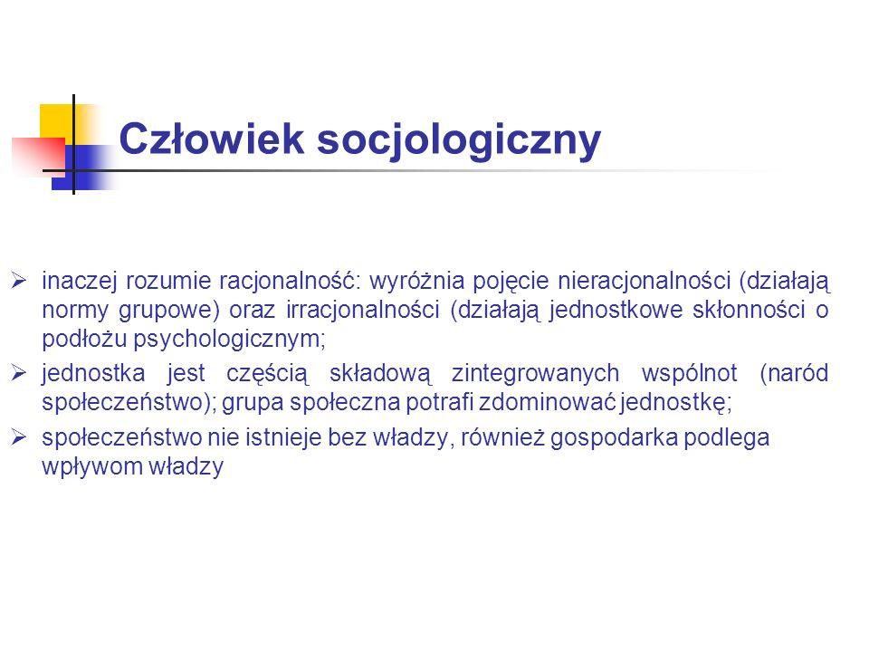 Człowiek socjologiczny inaczej rozumie racjonalność: wyróżnia pojęcie nieracjonalności (działają normy grupowe) oraz irracjonalności (działają jednost