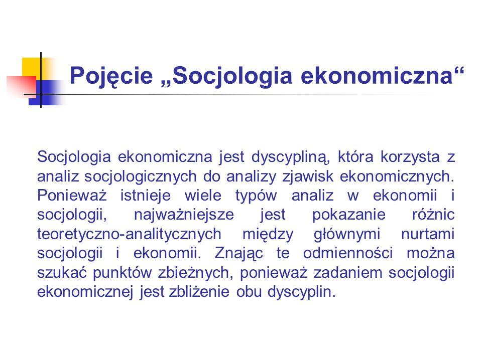 Pole badawcze Socjologii Ekonomicznej Socjologię ekonomiczną interesują procesy ekonomiczne z perspektywy socjologicznej Gospodarka rynkowa w perspektywie socjologii ekonomicznej jest ujmowana bardziej wielowymiarowo niż w czystej ekonomii Socjologia ekonomiczna, wśród dyscyplin zajmujących się gospodarką, analizuje funkcjonowanie jednostek i grup społecznych w organizacjach ekonomicznych Socjologia ekonomiczna stwarza nową perspektywę patrzenia na stare problemy Problematyką centralną socjologii ekonomicznej jest gospodarka rynkowa oraz uwarunkowania jej funkcjonowania