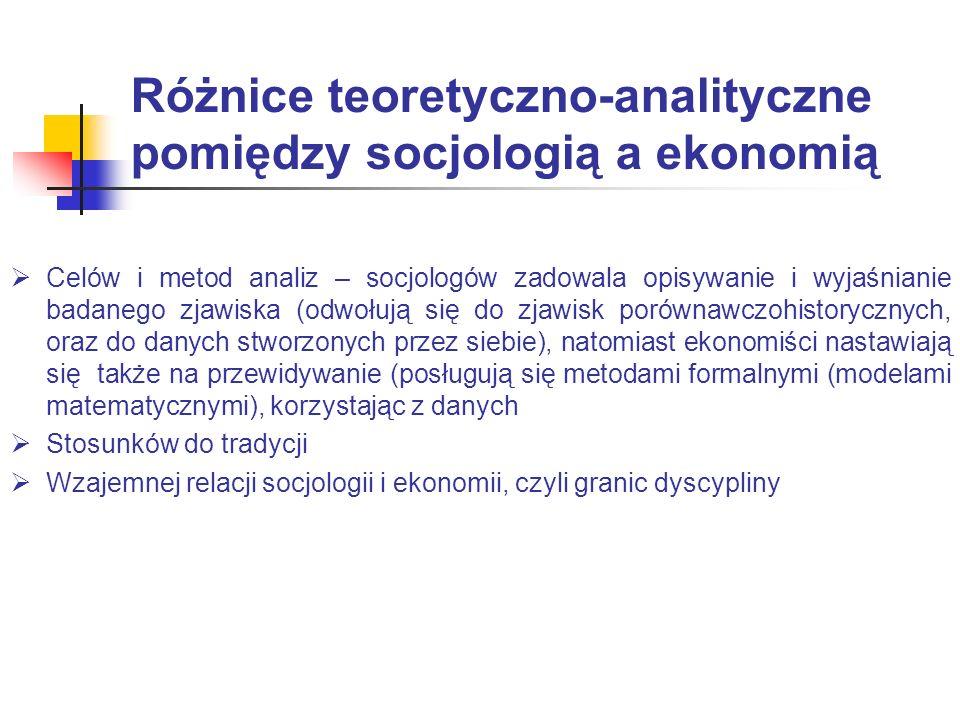 Różnice teoretyczno-analityczne pomiędzy socjologią a ekonomią Celów i metod analiz – socjologów zadowala opisywanie i wyjaśnianie badanego zjawiska (