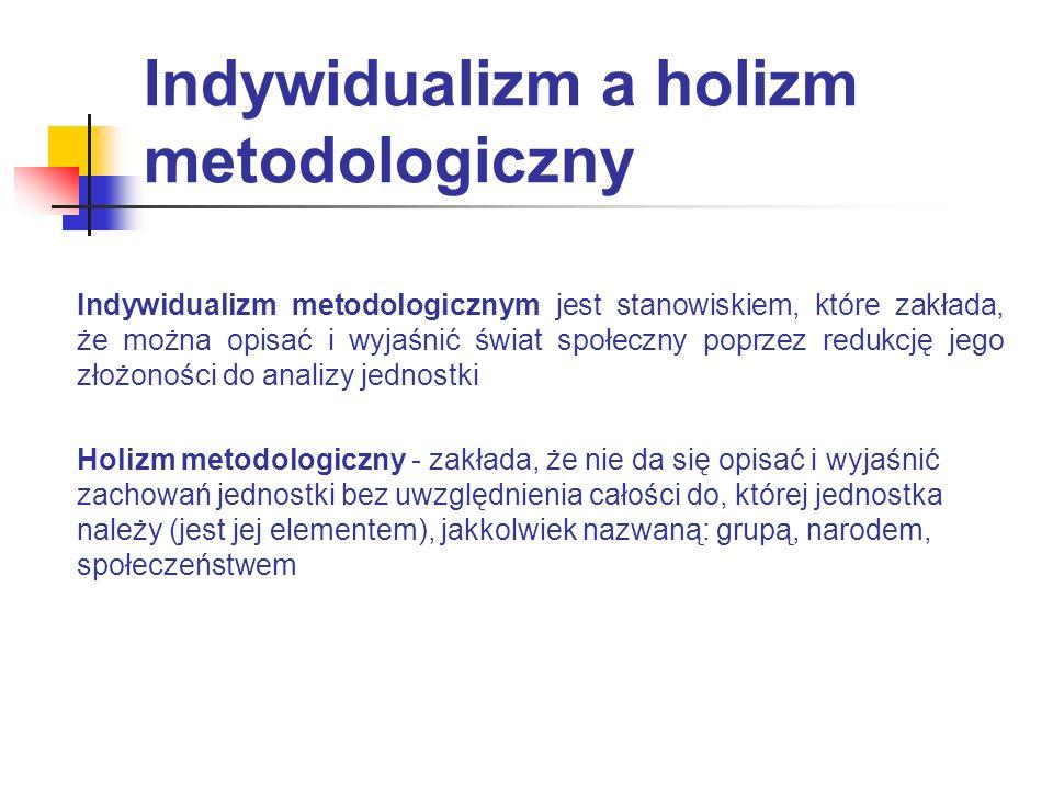 Indywidualizm a holizm metodologiczny Indywidualizm metodologicznym jest stanowiskiem, które zakłada, że można opisać i wyjaśnić świat społeczny poprz