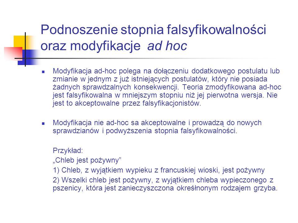 Podnoszenie stopnia falsyfikowalności oraz modyfikacje ad hoc Modyfikacja ad-hoc polega na dołączeniu dodatkowego postulatu lub zmianie w jednym z już istniejących postulatów, który nie posiada żadnych sprawdzalnych konsekwencji.