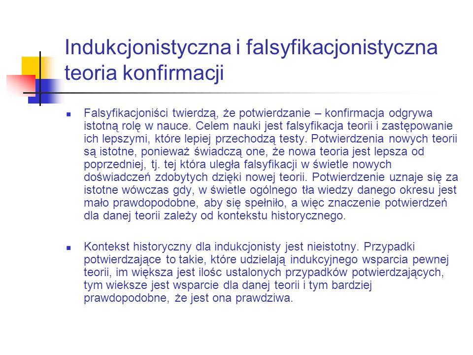 Indukcjonistyczna i falsyfikacjonistyczna teoria konfirmacji Falsyfikacjoniści twierdzą, że potwierdzanie – konfirmacja odgrywa istotną rolę w nauce.