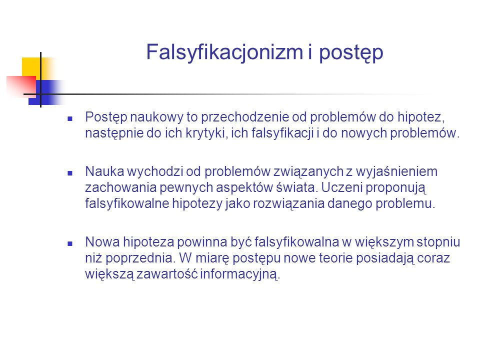 Falsyfikacjonizm i postęp Postęp naukowy to przechodzenie od problemów do hipotez, następnie do ich krytyki, ich falsyfikacji i do nowych problemów.