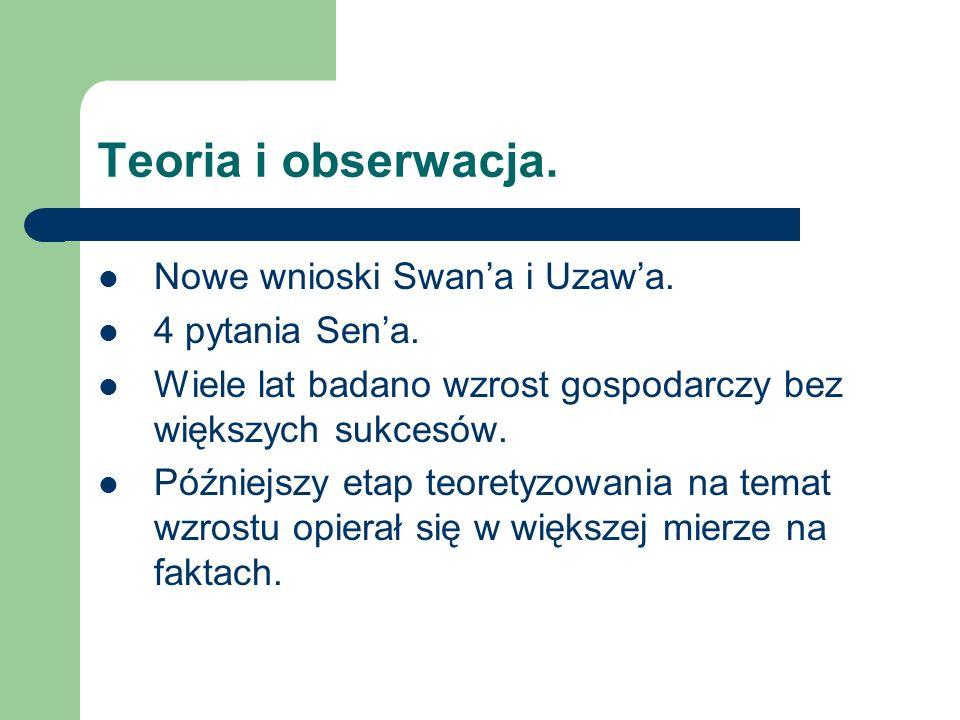 Teoria i obserwacja. Nowe wnioski Swana i Uzawa. 4 pytania Sena.