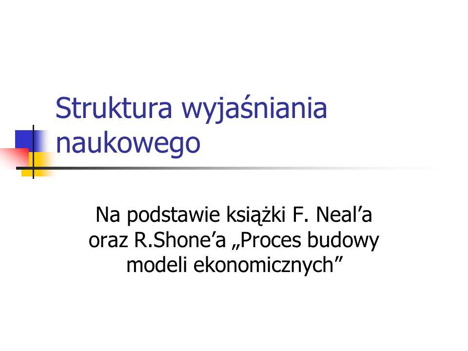 Struktura wyjaśniania naukowego Na podstawie książki F. Neala oraz R.Shonea Proces budowy modeli ekonomicznych