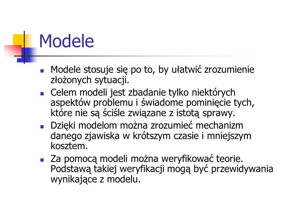 Modele Modele stosuje się po to, by ułatwić zrozumienie złożonych sytuacji. Celem modeli jest zbadanie tylko niektórych aspektów problemu i świadome p