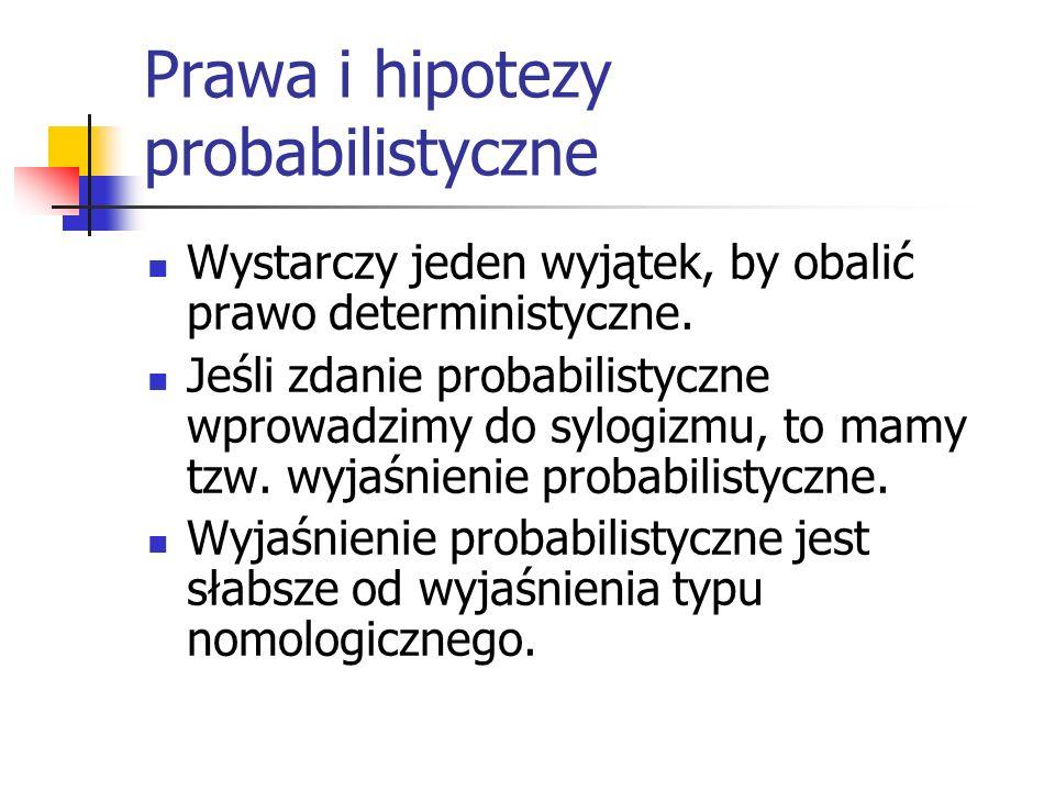 Prawa i hipotezy probabilistyczne Wystarczy jeden wyjątek, by obalić prawo deterministyczne. Jeśli zdanie probabilistyczne wprowadzimy do sylogizmu, t