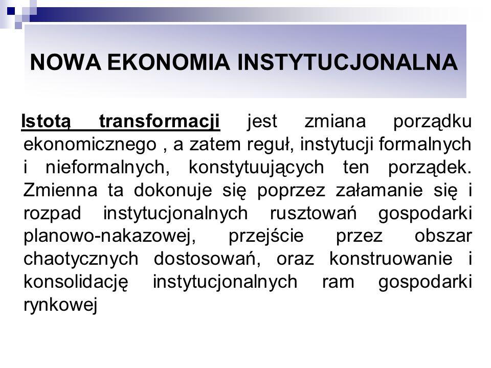 NOWA EKONOMIA INSTYTUCJONALNA Istotą transformacji jest zmiana porządku ekonomicznego, a zatem reguł, instytucji formalnych i nieformalnych, konstytuu