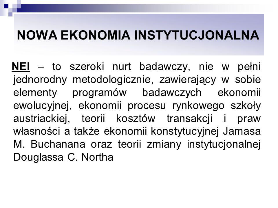 NOWA EKONOMIA INSTYTUCJONALNA Koncepcje i podejścia badawcze będące składowymi NEI Instytucjonalna struktura gospodarki i społeczeństwa jest czynnikiem determinującym wymianę i produkcję Instytucje gospodarcze i różne sposoby organizacji wymiany i produkcji powinny stanowić zasadniczy przedmiot badań w teorii ekonomi