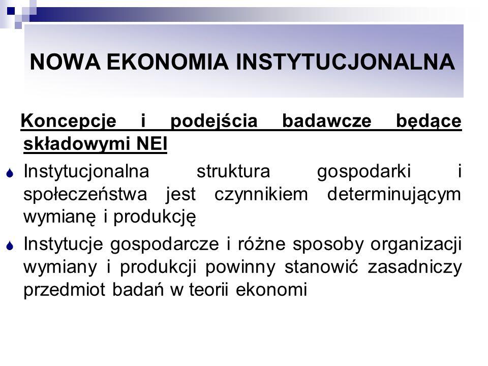NOWA EKONOMIA INSTYTUCJONALNA Koncepcje i podejścia badawcze będące składowymi NEI Instytucjonalna struktura gospodarki i społeczeństwa jest czynnikie
