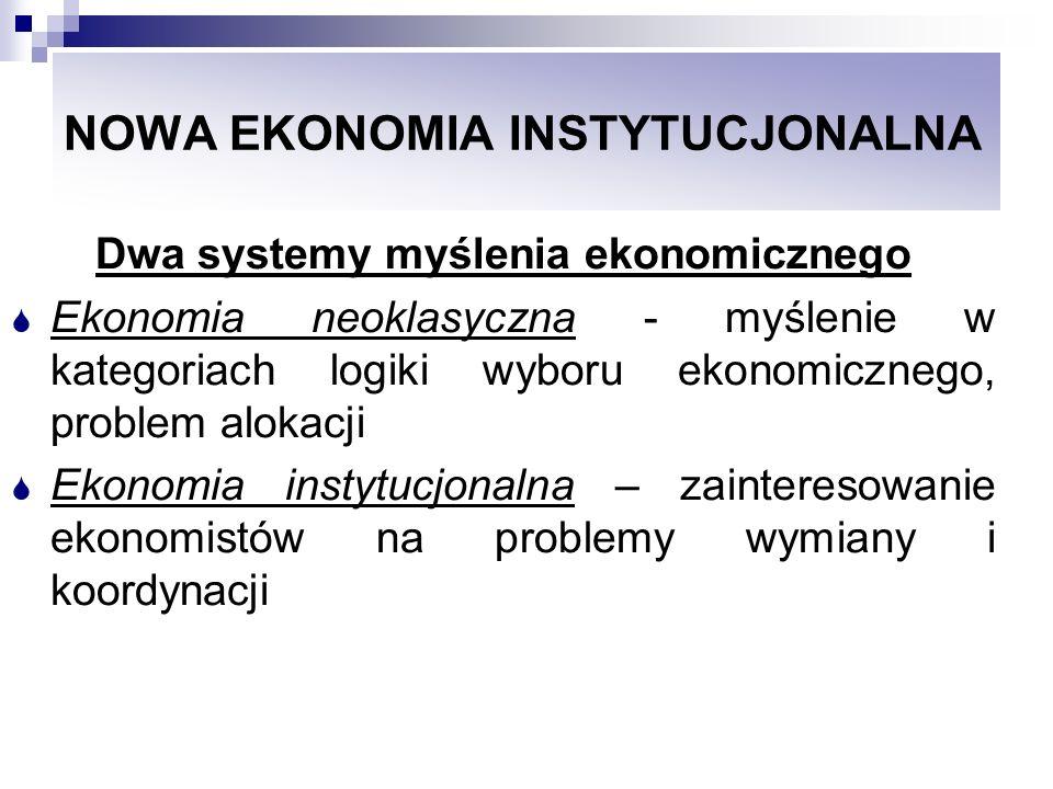 NOWA EKONOMIA INSTYTUCJONALNA Myślenie w kategoriach ekonomii neoklasycznej, skierowuje uwagę ekonomistów na rozwiązywanie zadań, na maksymalizację funkcji celu i jednocześnie pozostawia poza obszarem zainteresowania szereg istotnych dla procesu gospodarczego zjawisk ( Ronald Coasea)