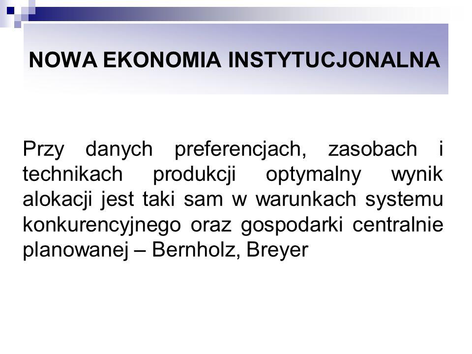 NOWA EKONOMIA INSTYTUCJONALNA Wg Buchanana system myślenia instytucjonalnego pozwala na poszerzenie przedmiotu refleksji ekonomicznej o konspekt społeczny, polityczny i instytucjonalny, sferę reguł rządzących wymianą i koordynujących proces wymiany.