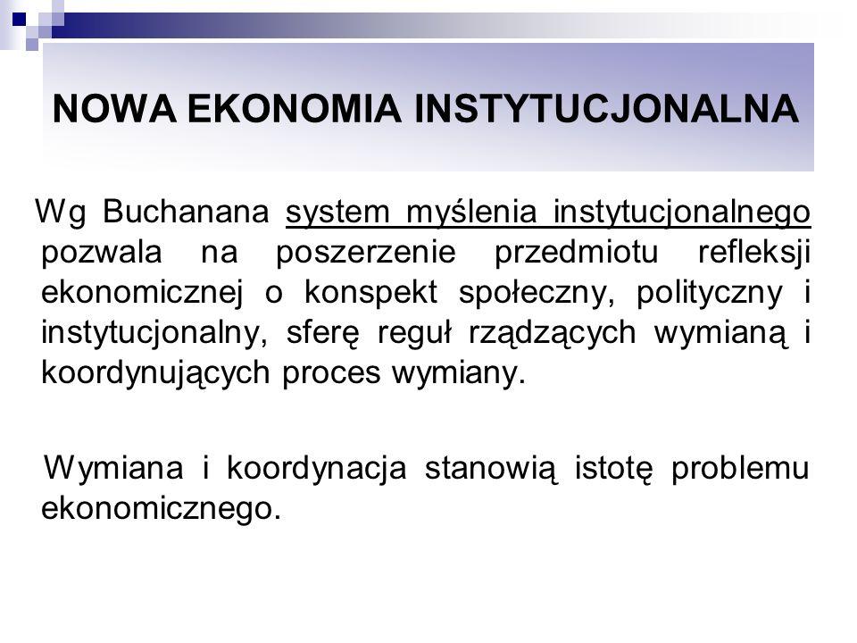 NOWA EKONOMIA INSTYTUCJONALNA Wg Buchanana system myślenia instytucjonalnego pozwala na poszerzenie przedmiotu refleksji ekonomicznej o konspekt społe