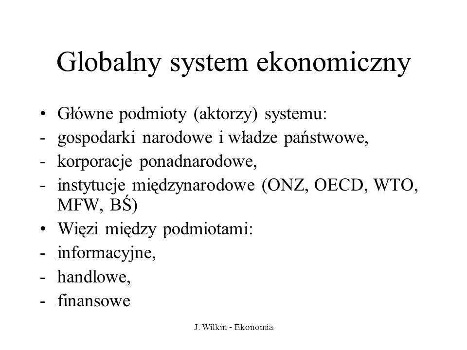 J. Wilkin - Ekonomia Globalny system ekonomiczny Główne podmioty (aktorzy) systemu: -gospodarki narodowe i władze państwowe, -korporacje ponadnarodowe