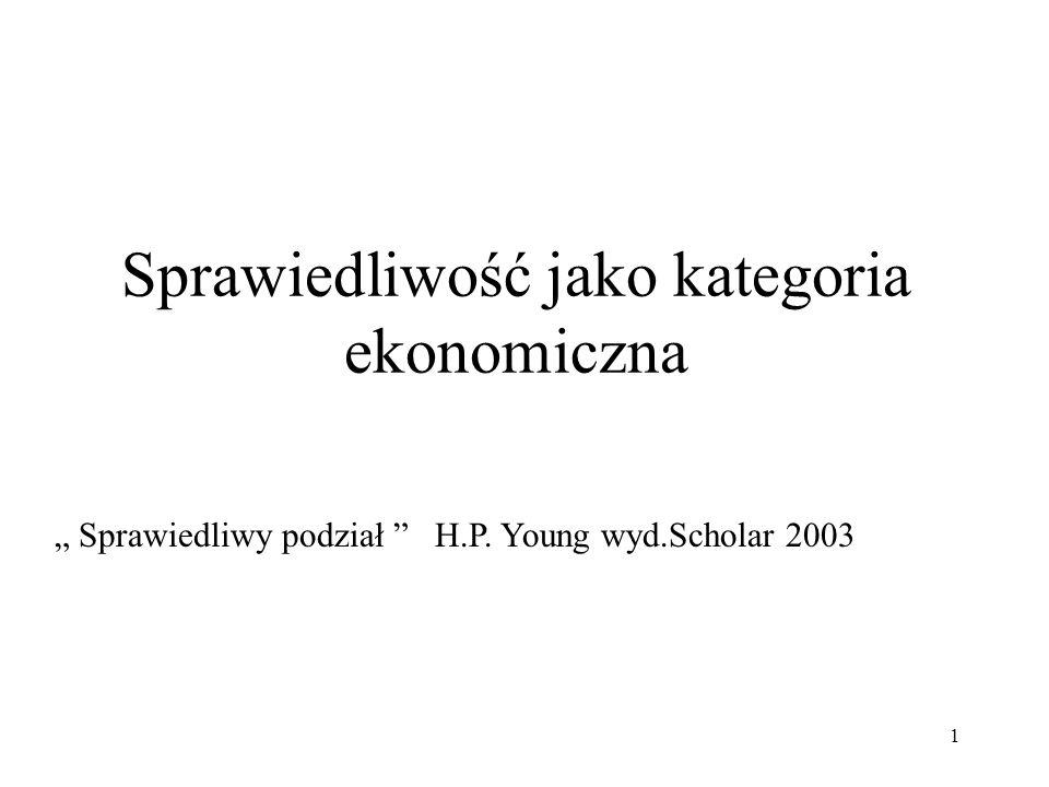 1 Sprawiedliwość jako kategoria ekonomiczna Sprawiedliwy podział H.P. Young wyd.Scholar 2003