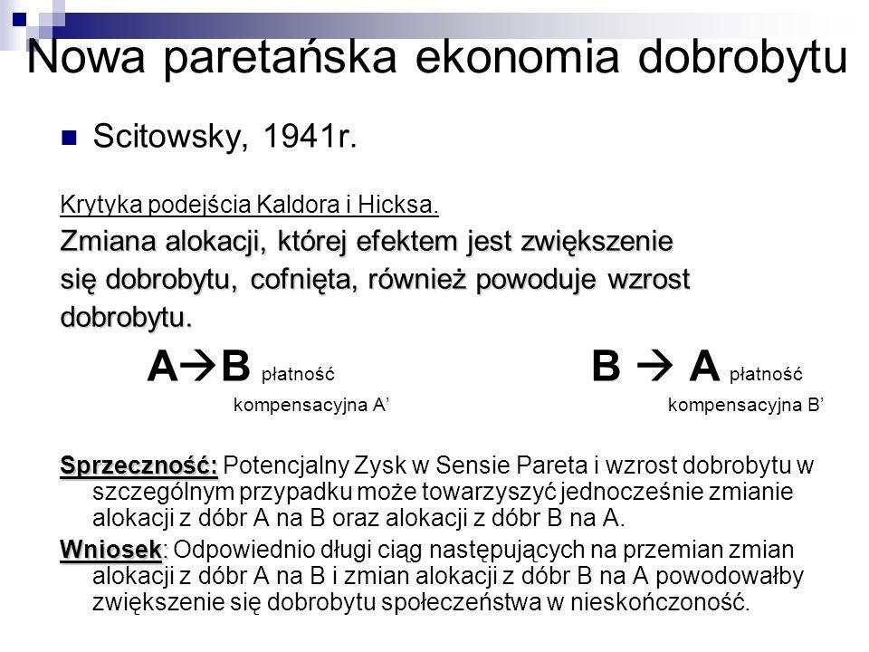 Nowa paretańska ekonomia dobrobytu Scitowsky, 1941r. Krytyka podejścia Kaldora i Hicksa. Zmiana alokacji, której efektem jest zwiększenie się dobrobyt