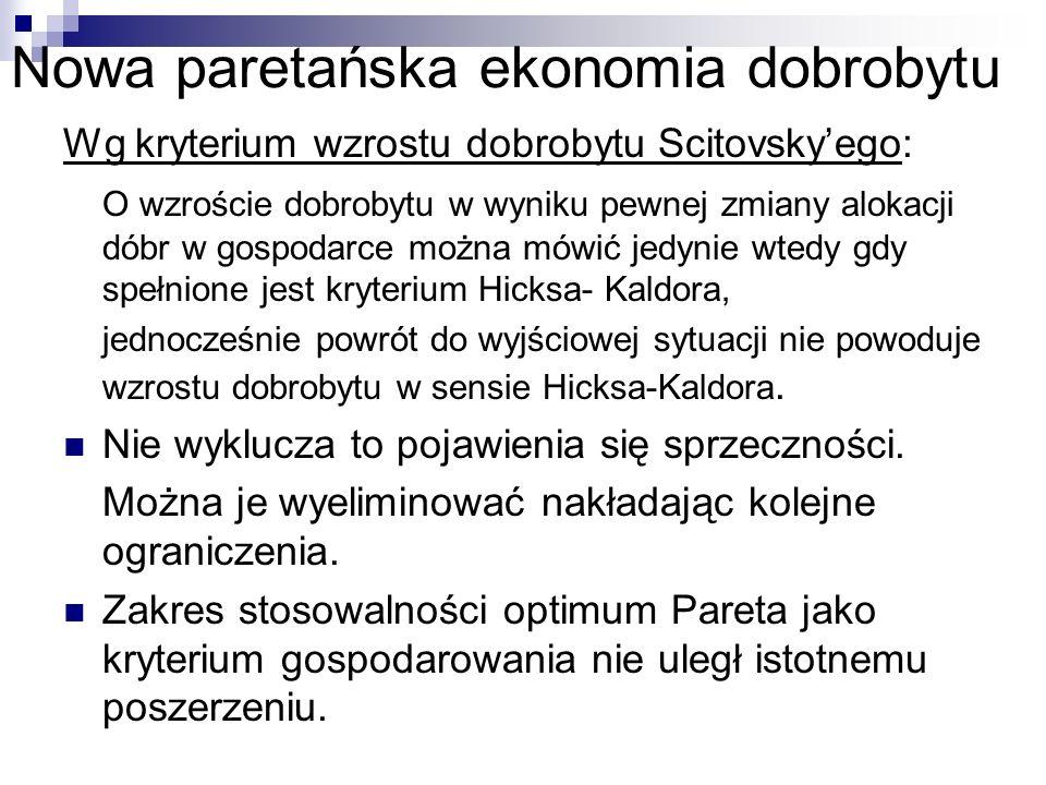 Nowa paretańska ekonomia dobrobytu Wg kryterium wzrostu dobrobytu Scitovskyego: O wzroście dobrobytu w wyniku pewnej zmiany alokacji dóbr w gospodarce