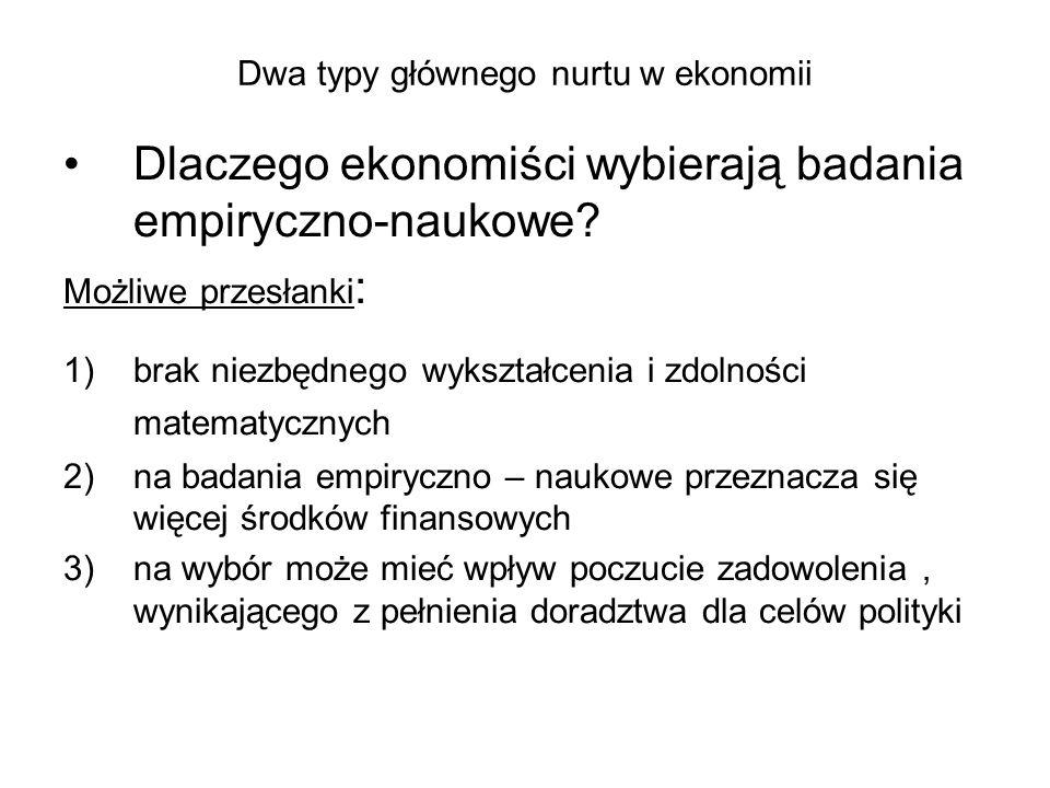 Dwa typy głównego nurtu w ekonomii Dlaczego ekonomiści wybierają badania empiryczno-naukowe.