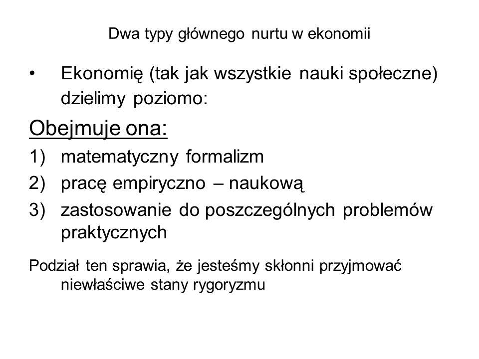 Dwa typy głównego nurtu w ekonomii Ekonomię (tak jak wszystkie nauki społeczne) dzielimy poziomo: Obejmuje ona: 1)matematyczny formalizm 2)pracę empiryczno – naukową 3)zastosowanie do poszczególnych problemów praktycznych Podział ten sprawia, że jesteśmy skłonni przyjmować niewłaściwe stany rygoryzmu