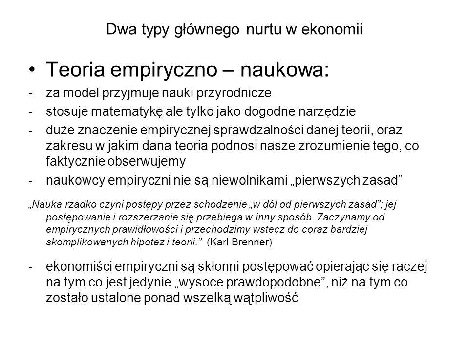 Dwa typy głównego nurtu w ekonomii Podsumowanie: Zarówno ekonomia formalistyczna jak i empiryczno-naukowa, są ważne i potrzebne.