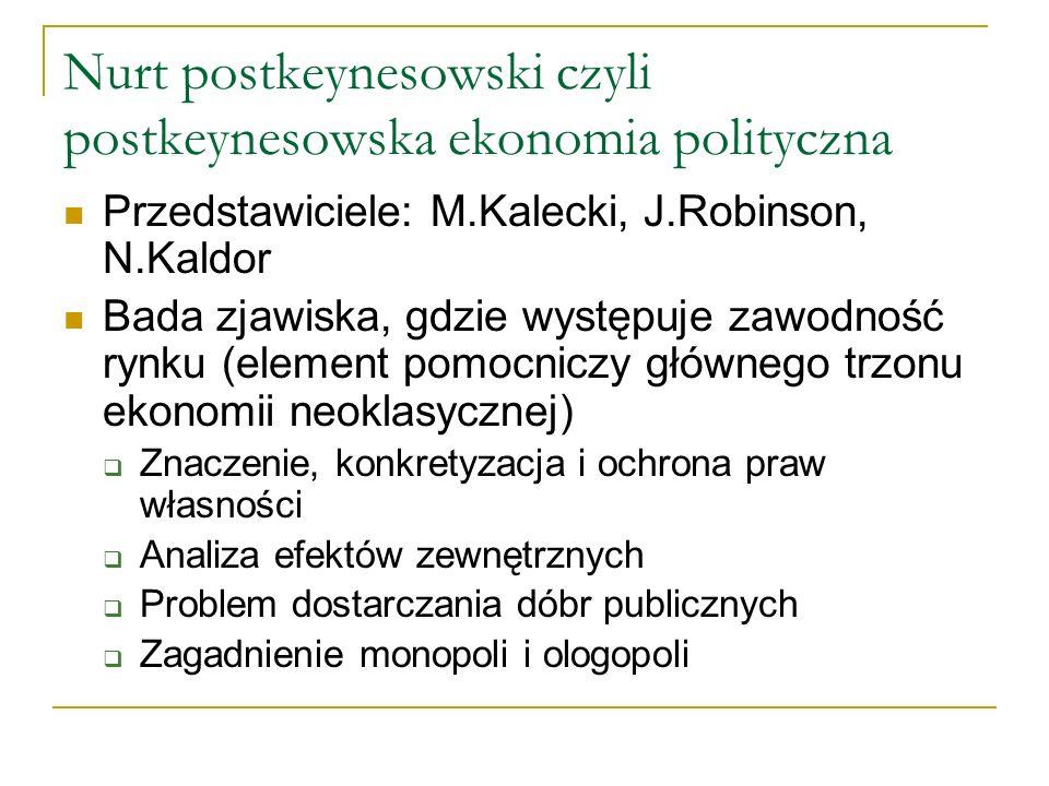 Nurt postkeynesowski czyli postkeynesowska ekonomia polityczna Przedstawiciele: M.Kalecki, J.Robinson, N.Kaldor Bada zjawiska, gdzie występuje zawodno