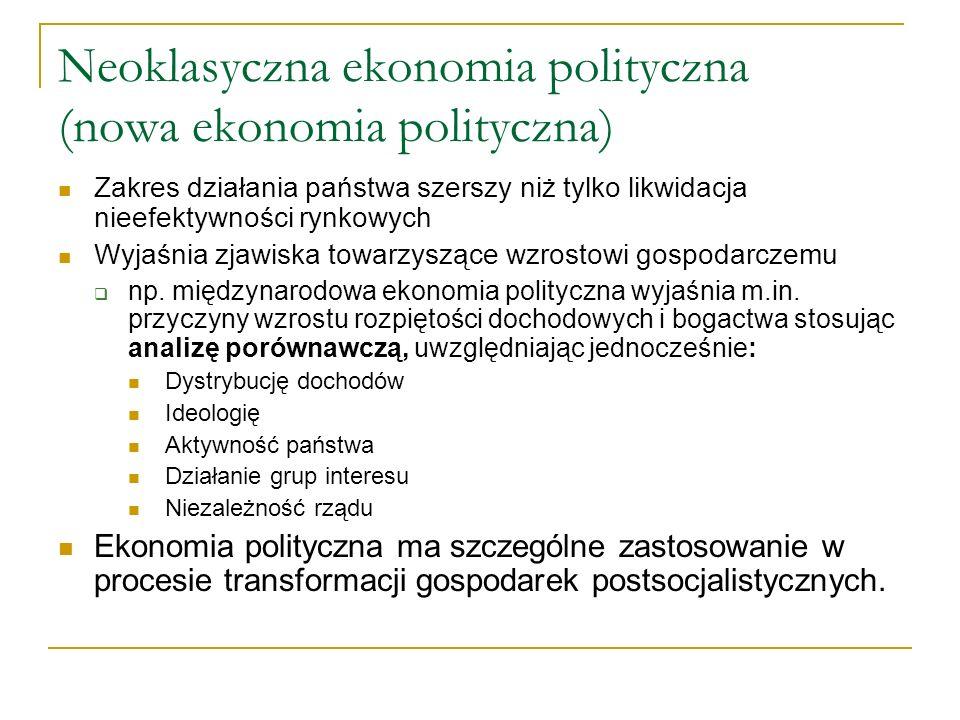 Neoklasyczna ekonomia polityczna (nowa ekonomia polityczna) Zakres działania państwa szerszy niż tylko likwidacja nieefektywności rynkowych Wyjaśnia z