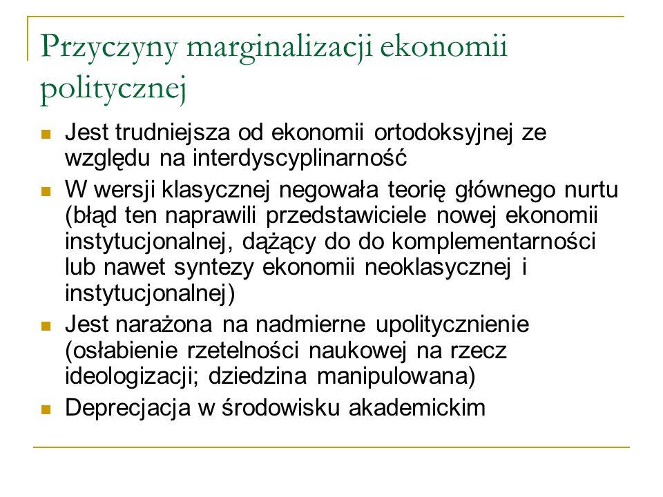 Przyczyny marginalizacji ekonomii politycznej Jest trudniejsza od ekonomii ortodoksyjnej ze względu na interdyscyplinarność W wersji klasycznej negowa