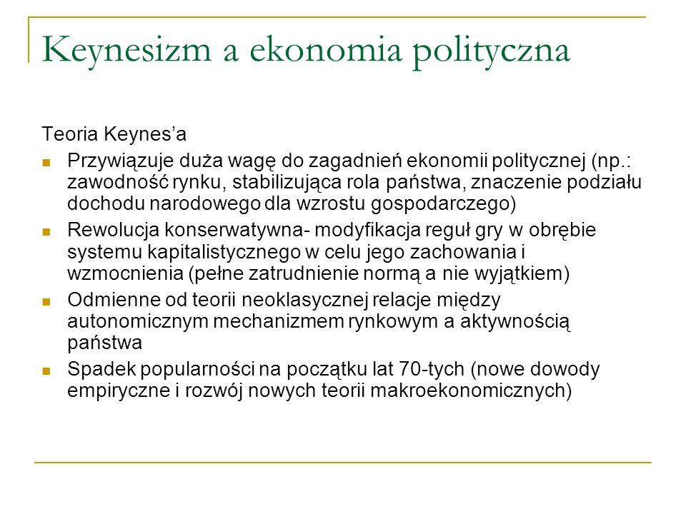 Keynesizm a ekonomia polityczna Teoria Keynesa Przywiązuje duża wagę do zagadnień ekonomii politycznej (np.: zawodność rynku, stabilizująca rola państ