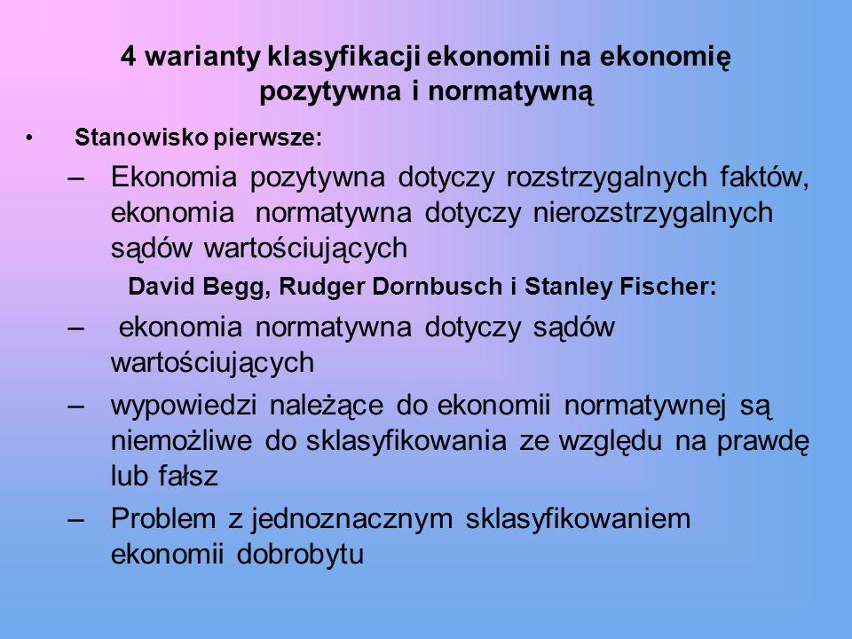 4 warianty klasyfikacji ekonomii na ekonomię pozytywna i normatywną Stanowisko pierwsze: –Ekonomia pozytywna dotyczy rozstrzygalnych faktów, ekonomia