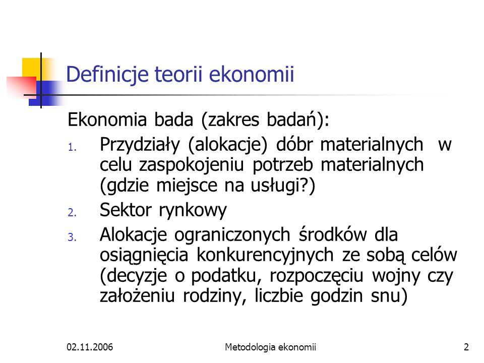 02.11.2006Metodologia ekonomii2 Definicje teorii ekonomii Ekonomia bada (zakres badań): 1. Przydziały (alokacje) dóbr materialnych w celu zaspokojeniu