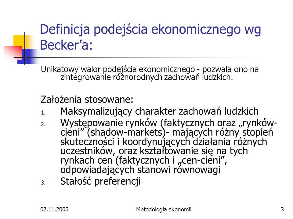 02.11.2006Metodologia ekonomii3 Definicja podejścia ekonomicznego wg Beckera: Unikatowy walor podejścia ekonomicznego - pozwala ono na zintegrowanie r