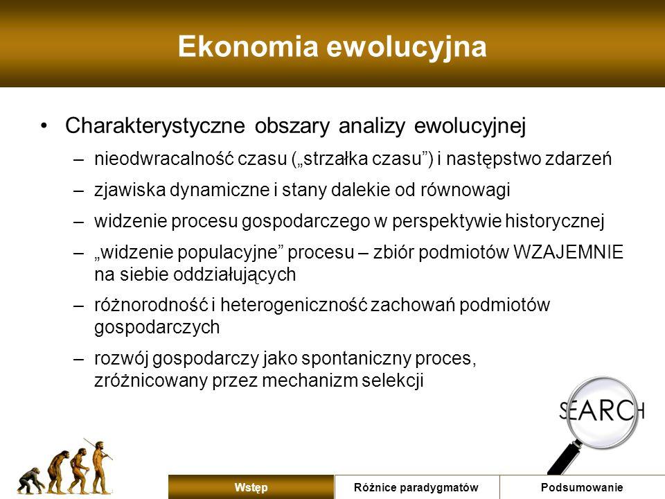 Ekonomia ewolucyjna Charakterystyczne obszary analizy ewolucyjnej –nieodwracalność czasu (strzałka czasu) i następstwo zdarzeń –zjawiska dynamiczne i