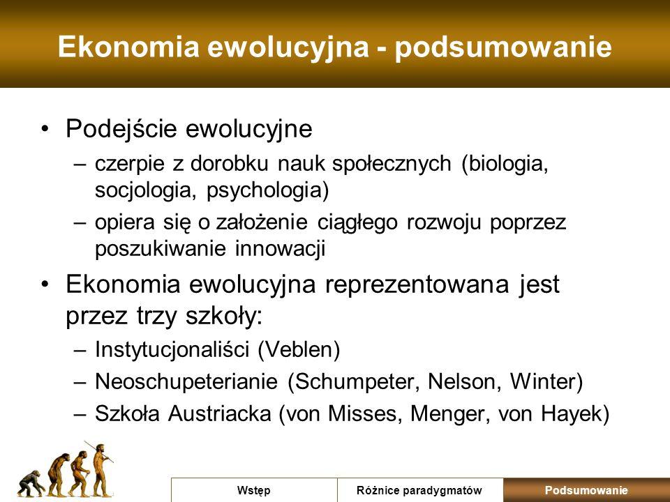 Ekonomia ewolucyjna - podsumowanie Podejście ewolucyjne –czerpie z dorobku nauk społecznych (biologia, socjologia, psychologia) –opiera się o założeni