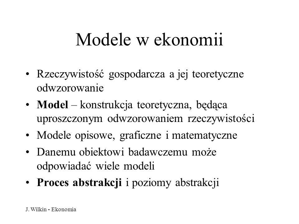 J. Wilkin - Ekonomia Modele w ekonomii Rzeczywistość gospodarcza a jej teoretyczne odwzorowanie Model – konstrukcja teoretyczna, będąca uproszczonym o