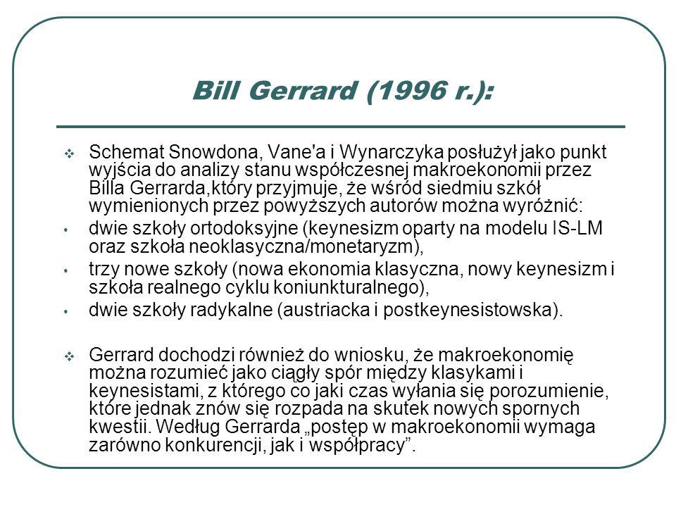 Bill Gerrard (1996 r.): Schemat Snowdona, Vane'a i Wynarczyka posłużył jako punkt wyjścia do analizy stanu współczesnej makroekonomii przez Billa Gerr